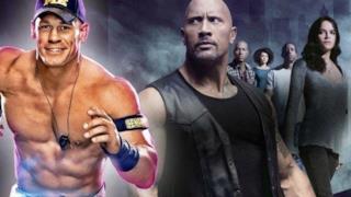 John Cena a sinistra e il cast della saga di Fast and Furious a destra