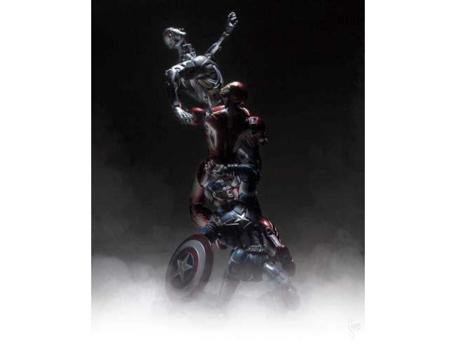 Captain America e Iron Man combattono contro Ultron