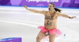 Mark Roberts durante la sua irruzione alle Olimpiadi in Corea del Sud