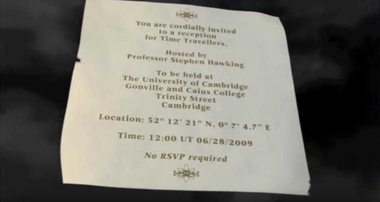 L'invito per la festa in onore dei viaggiatori del tempo, organizzata da Stephen Hawking