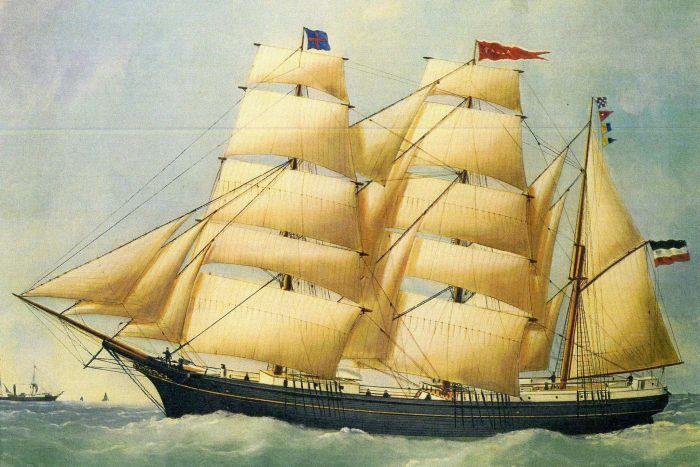 Una rappresentazione della nave tedesca Paula