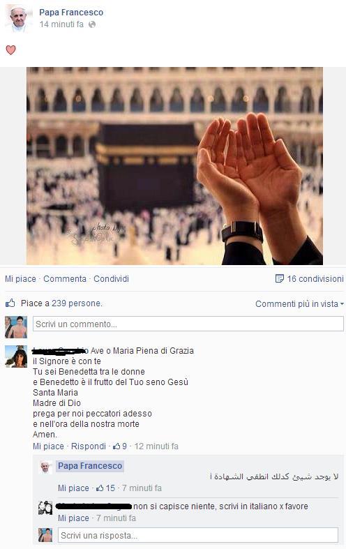 Messaggio con commenti e preghiere sulla pagina hackerata del Papa