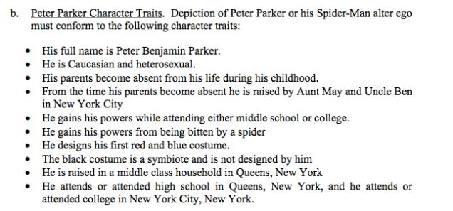 Caratteristiche di Peter Parker secondo l'accordo Marvel/Sony