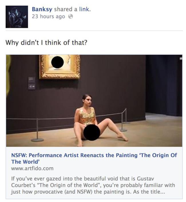 Commento di Banksy su Facebook