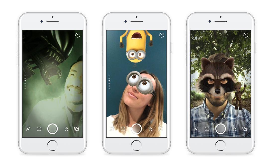 tre esempi dei filtri della fotocamera di Facebook Storie