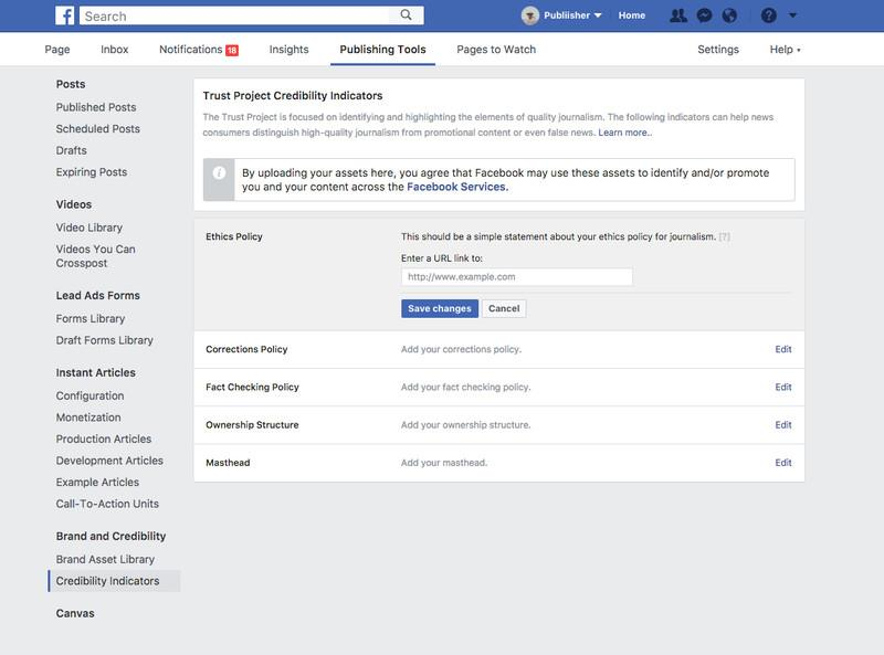 Un esempio di indicatori di verità che si potranno trovare su Facebook