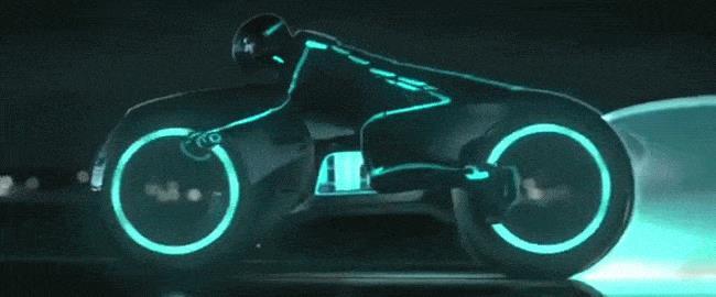 GIF della lightcycle di TRON: Legacy