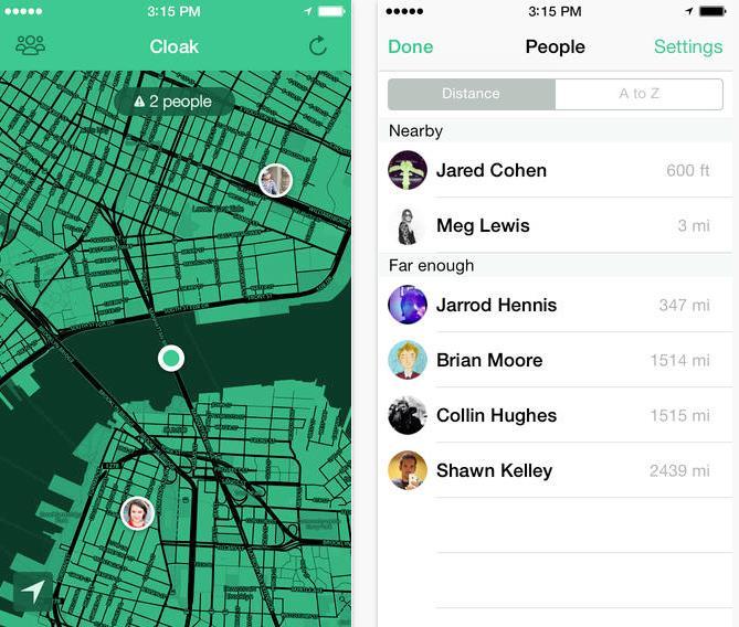 Screenshot di Cloak, l'app per non socializzare