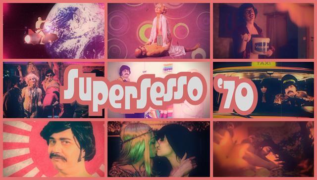 Collage di immagini del film-parodia Supersesso '70