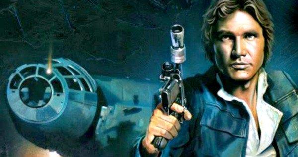Han Solo in posa in una fan art, con il celebre Millennium Falcon sullo sfondo.