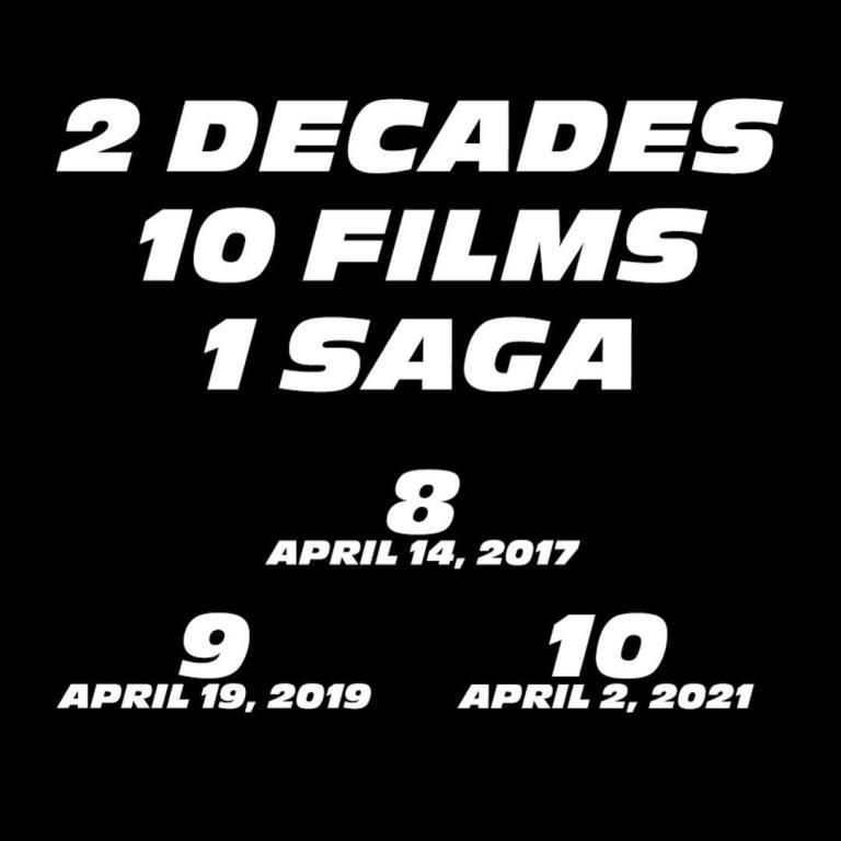 Date d'uscita Fast & Furious, dal profilo Instagram di Vin Diesel