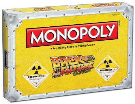 La scatola del Monopoly di Ritorno al Futuro, ispirata a una confezione di plutonio