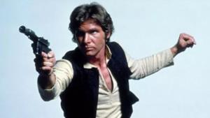 Han Solo impugna la pistola laser