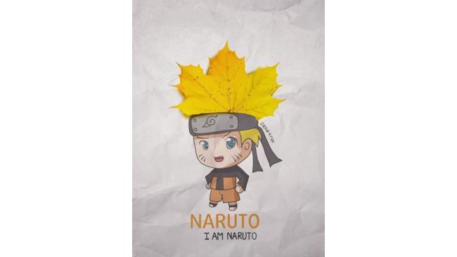 Naruto creato a partire da una foglia d'acero