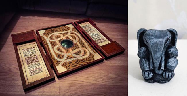 La replica del gioco da tavolo di Jumanji e una delle sue pedine
