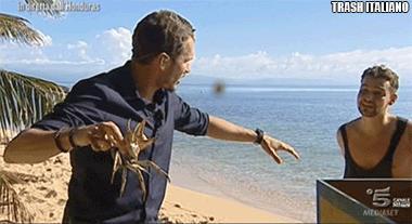 Valerio Scanu contro il granchio sull'Isola dei Famosi