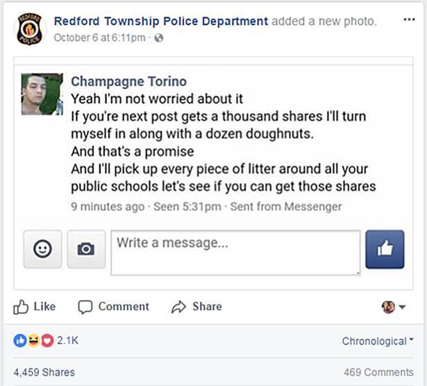 Il post della polizia su Facebook