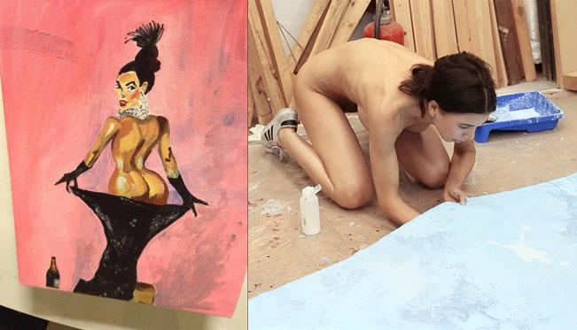 L'opera di Kim Kardashian di Uwe Max Jensen e, accanto, l'artista Milo Moiré