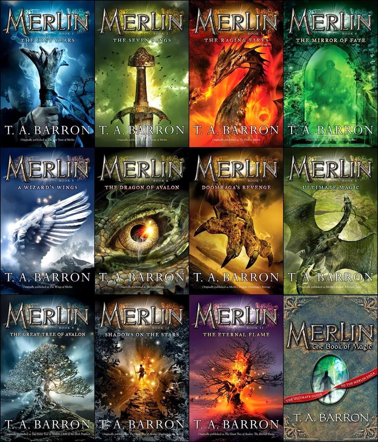 Le copertine dei dodici volumi della Saga sul Mago Merlino scritta da Barron.