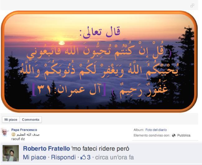 Commento a pagina hackerata del Papa su Facebook