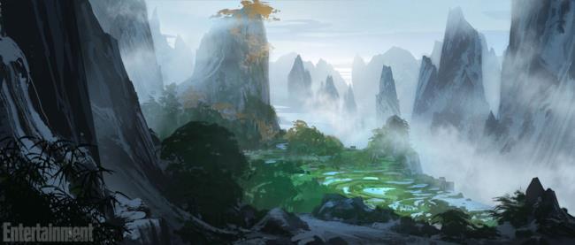 Una concept art che mostra il mondo di Kung Fu Panda 3