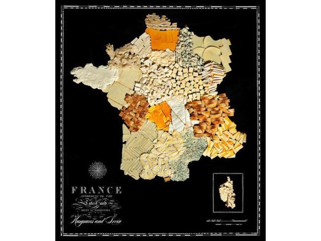 Cartina della Francia fatta con il cibo