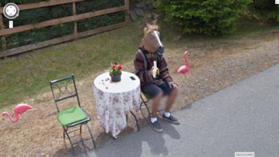 Una persona mascherata da cavallo