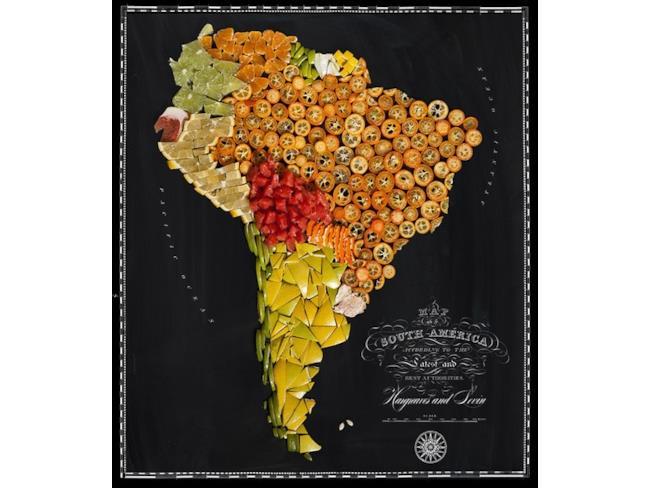 Cartina del Sud America fatta con il cibo