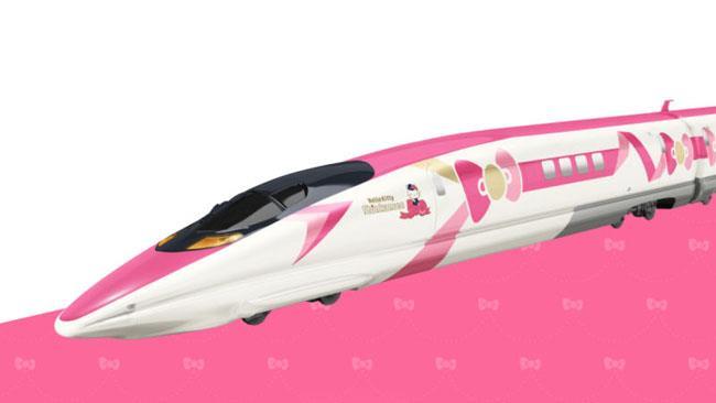 Un treno con l'immagine di Hello Kitty