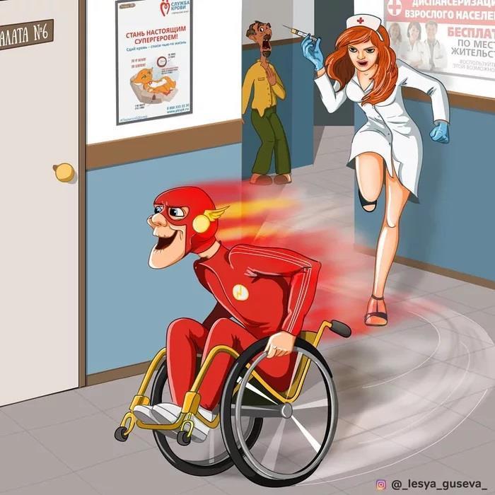 Flash che scappa su una sedia a rotelle