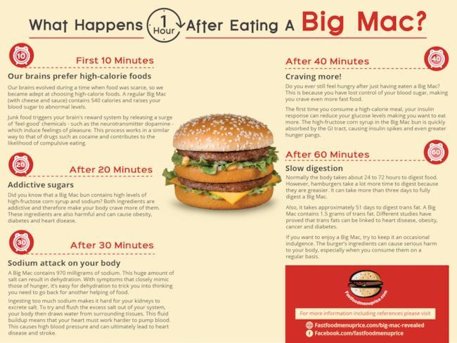 Infografica: cosa succede nell'ora successiva ad aver mangiato un BigMac