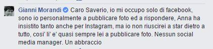 Morandi smentisce di affidarsi a un social media manager