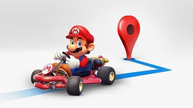 Mario Kart affiancato dal segnaposto su Google Maps