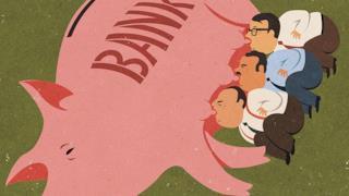 Illustrazione satirica di John Holcroft sulle banche