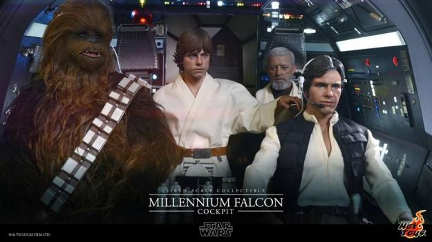 Il cockpit del Millennium Falcon con Han Solo e Chewbacca
