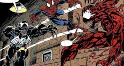 Tavola di un fumetto in cui Spider-Man e Venom si scontrano con Carnage.