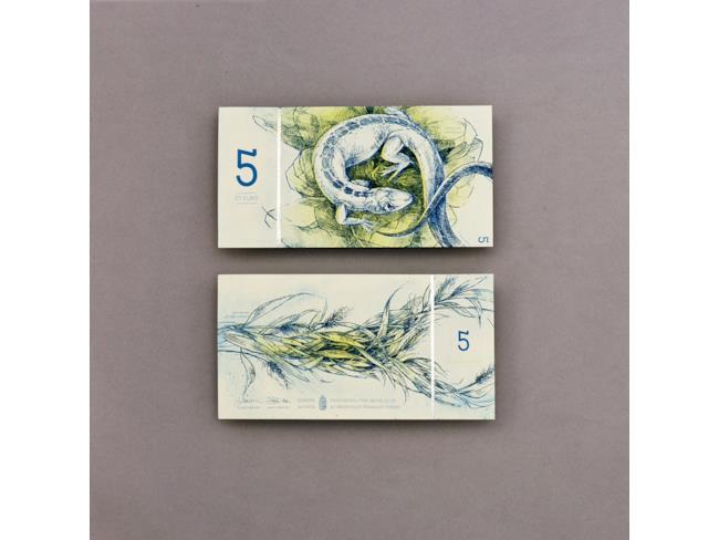 5 euro lucertola ed erba