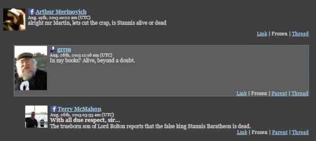 George R. R. Martin rivela che nei libri Stannis è ancora vivo