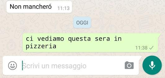 Schermata con scritta in FixedSys su WhatsApp