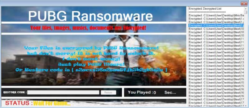 L'immagine della schermata del malware