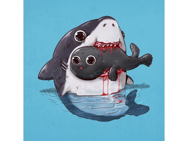 Uno squalo divora una foca tutta contenta