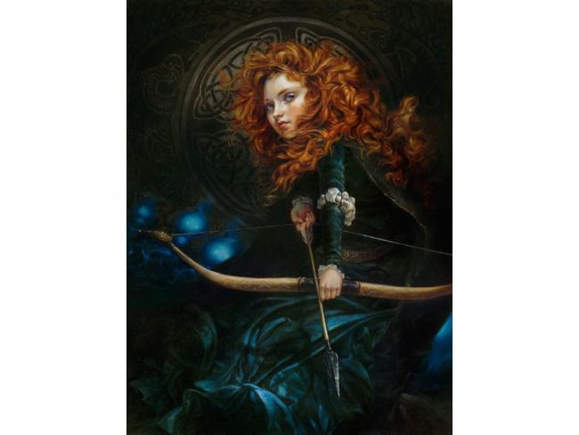 Merida in un'opera d'arte ispirata alle Principesse Disney