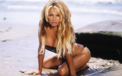 Pamela Anderson in riva al mare