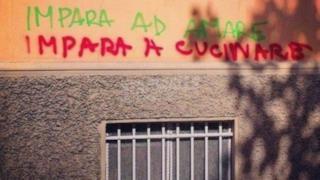 Scritta divertente sul muro
