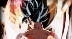 Goku, di spalle, si trasforma