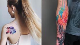 Due tatuaggi realizzati con la tecnica ad acquarello