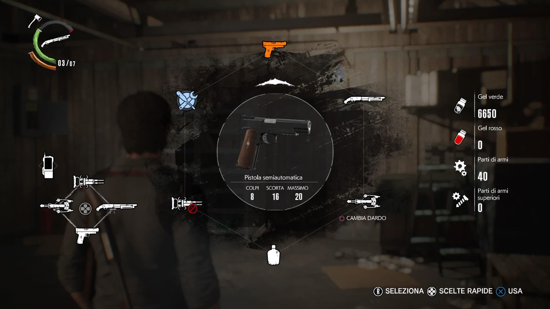 Il menu a raggiera del gioco