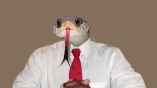 Un uomo con la testa di serpente