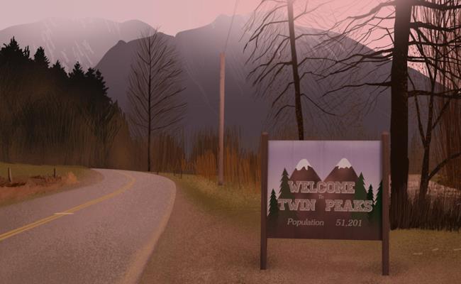 L'entrata di Twin Peaks con il cartello