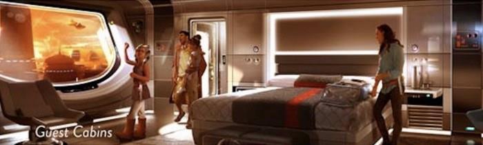 Un rendering di una stanza dell'albergo di Star Wars